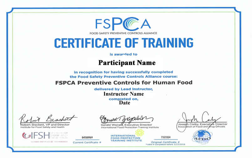 PCQI Certificate of Completion