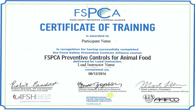 Example of PCQI certificate